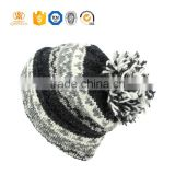 Mens custom beanie leather patch pom pom beanie hats wholesale black plain knitted beanie