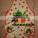 vegetables pattern cotton fabric kids baking apron and gloves heat resistant with pot holders