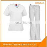 China OEM Factory Custom V neck Medical Scrub Suit tops & pants / Hospital staff uniforms