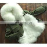 Genuine fox fur detachable russian winter fur hooded parka