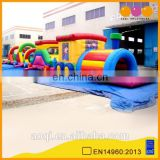 AOQI cartoon train tunnel inflatable with free EN14960 certificate for kids