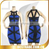 2014 new color dark blue halter ribbons cocktail dresses sleeveless