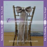 SH049B cheap burlap bow chair sash wedding
