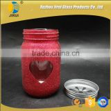 450ml Lovely Round Shape Painted Glass Candy Jar for Wedding