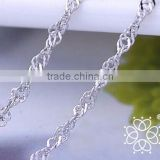 Fashion jewelry 925 sterling silver women water wave chain silver chain necklace wholesale