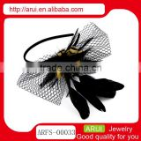 China hair accessory sexy mesh feather plastic bridal headbands