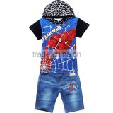 wholesale Summer Boys spiderman Clothing set Children spiderman Suits spiderman hoodie + jean Kids Short Sleeve Clothes