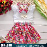 2016 Chinese Manufacturer Summer Clothing Set Pearl Necklace Floral Clothing Suits Set Wholesale Short Sleeve Clothes Set