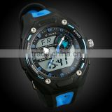 Men's Blue Rubber Digital Analog Dual Dial Sport Watch WS066