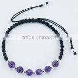 Faceted Amethyst & Silver Spheres Twisted Macrame Bracelet