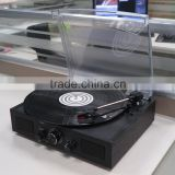 Portable simple wooden with plastic cover turntable vinyl record player gramophone with radio/AUX IN/headphone jack/speaker