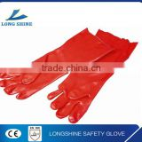 Heavy duty cotton liner oil resistant long sleeve red smooth pvc working safety hand gloves                                                                                                         Supplier's Choice