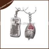 Promotional custom Metal Key ring keyboard and mouse Metal Keychain/