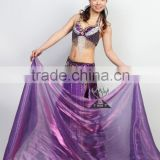 Shining Purple chinese silk belly dance fan veils