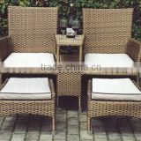 double seat outdoor rattan bar chair with ottoman