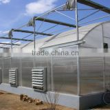 Large Size and PC Sheet / Glass / Film Cover Material multi span green house with climate control and cooling pads