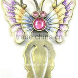 antique brass plating butterfly shaped bookmark,made of pewter alloy, for souvenirs, gifts and premium