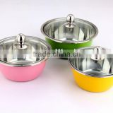 3 Pcs Stainles Steel Colorful Mixing Bowl with Glass Lid