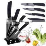 "GOOCI Ceramic Knife Set Super Sharp Chef Fruit Ceramic knife Set Size 3""+4""+5""+6"" + Peeler + holder BLACK BLADE"