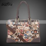 hot sell vintage canvas leather belt bear print business bag manufacture wholesale