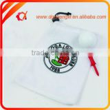 Colorfull Printing Logo Velvet Golf Bag in White For Golf Ball/ Golf Tee / Golf Divot Tool