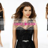 Fashion One-shoulder Black Short Lace Bridesmaid Dress Maid Of Honor Dress ZY560