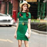 2016 Summer Fashion Women Lace Mini Dresses Ladies Knitting Rib Collar Cuff Zipper Back Sweet Preppy Embroidery Green Dress