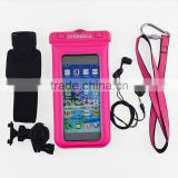 High Quality PVC 100% waterproof phone bag for iphone 6 With armband and earphone phone bike mount