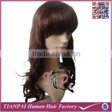 Natural Fashion Long Curly Synthetic Hair Wig for African American Full Lace Hair Wig with Bangs