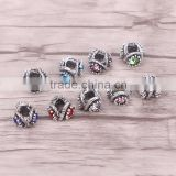 Mix Color Crystal Rhinestone Metal Beads Antique Silver Plated Jewelry Big Hole European Bead Fit Making Charms Bracelet