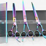 Rainbow Professional Pet Grooming Scissors Set,straight & Thinning & Curved Scissors Set with Comb
