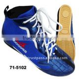 Rubber Outsole EVA Insole Leather 3D Mesh Comfortable Training Blue Boxing Shoes