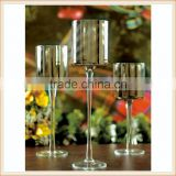 hand blown long stem silver glass candle holder