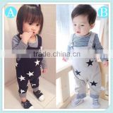 2016 fashion Baby Clothes Kids Girls Boys Clothing Sets long Sleeve T-Shirt+Suspender Trousers Overalls Suits baby