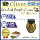 Cracked Purple Olives with Fennels. High Quality 100% Tunisian Table Olives. Cracked Olives 370 ml Glass Jar