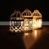 2016 Popular Metal Hollow Out Candle Holder White Metal Lantern Christmas Home Decoration Candlestick Hollow Candle Holders