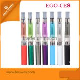 2015 Bauway mini rechargeable big ego ce8 new hookah shisha pen ce8 ss mesh Rebuildable clearomizer with 8 colors