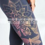 Magic Lotus Yoga Leggings - Dragonfly, Hummingbird, Boho, Monarch Butterfly leggings. Fiery screenprint on 4 colors. Bohemian le