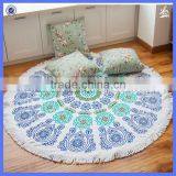 Beach Collection Round 'Roundie' Beach Towel Thick Terry Cotton with Fringe Tassels