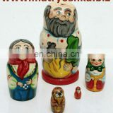 Matryoshka Russian Nesting Wooden Doll Repka (Turnip) of Child Fairy Tales, Grandfather, Grandmother, Granddaugther, Dog, Cat...