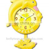 yellow dolphin cartoon wall clock with music signal