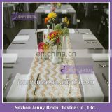 SQN70B Champagne & White Zig Zag Chevron sequin table runner