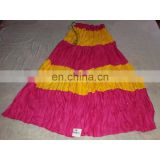 Women's Designer Handmade Cotton Printed Pink Yellow Skirt girls wear long Dress party Wear