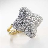 18K Gold Plated Sterling Silver 925 DY Pave Quatrefoil Ring for Women