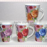 Liling white porcelain mugs promotional with beautiful rose and bird printed