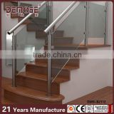 interior glass railing systems/tempered glass railing with wood handrail