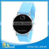Oem design round face silicone analog digital wrist watch led watch