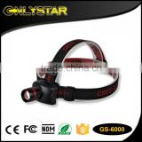 Onlystar GS-6000 hot sale CRE R3 led high powerful waterproof headlight zoomable led headlamp