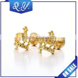 Cheap wholesale gold plated studs earrings shining crown ear stud
