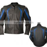 Motorbike Leather Jacket / Biker Jacket / Motorcycle Jacket / Black Blue leather Jacket